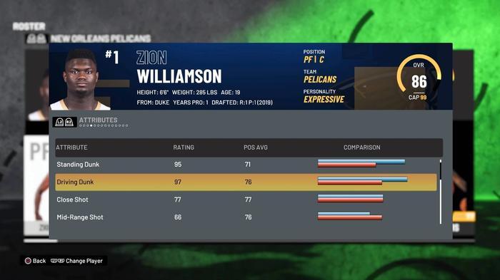 Zion Williamson Dunking 2K21