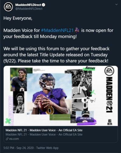 Madden Voice September Title Update Feedback 1