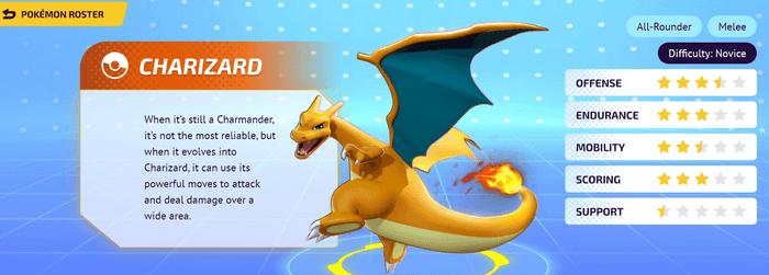 A character screen for Charizard in Pokemon Unite