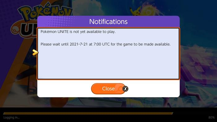 A notification on Nintendo Switch for Pokemon Unite that says the game will be available to play on July 21st at 7:00 UTC