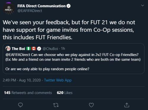 FIFA 21 FUT 21 Co Op session invites FUT Friendlies