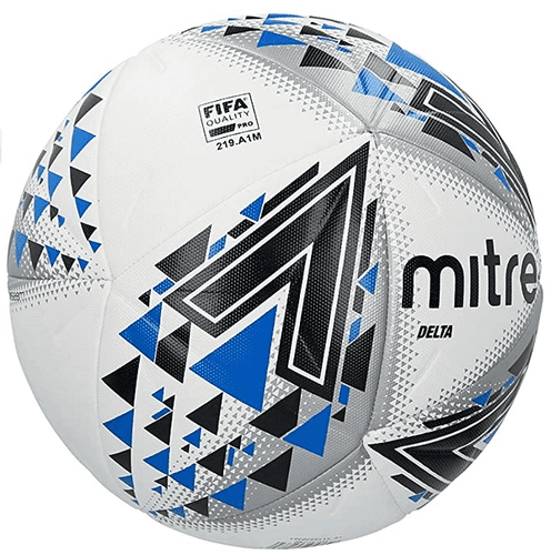Best footballs Mitre product image of a white ball with blue and black triangle details