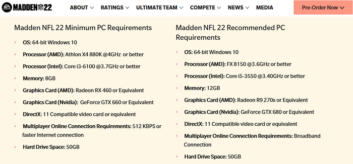 Madden 22 download size file size PC requirements
