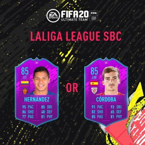 La Liga SBC cards on FIFA 20 FUT