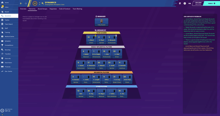 Barcelona's squad hierarchy on FM20