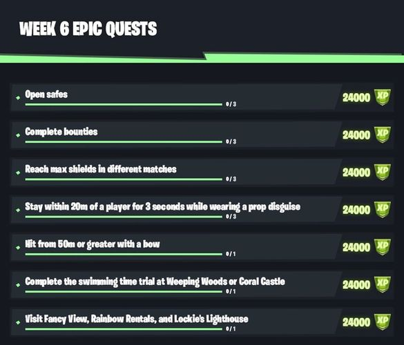 Fortnite Season 6 Week 6 Epic Quests