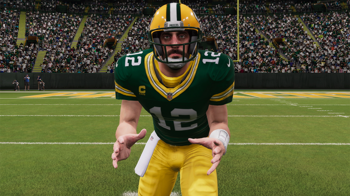 Aaron Rodgers prepares for the snap
