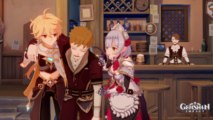 The Traveler and Noelle help a tavern patron
