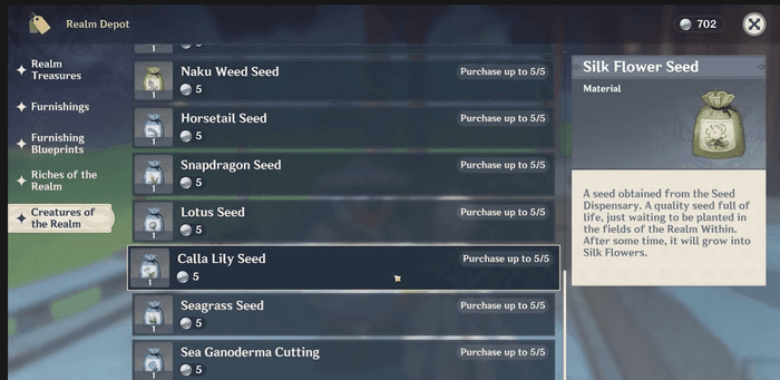 Options in Genshin Impact that contains the Available Seeds you can purchase to grow plants in your Garden