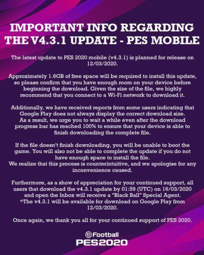 pes 2020 mobile tweet update v 4 3 1