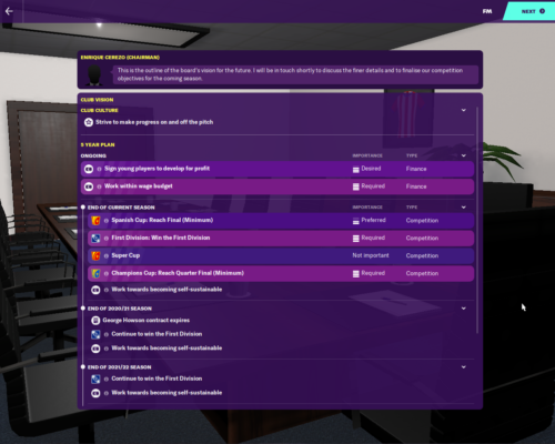 Atletico Madrid's starting Club vision in FM20.