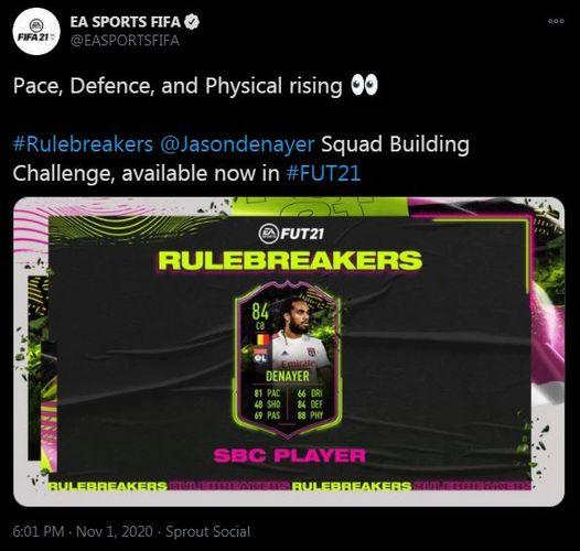 fifa 21 rulebreakers denayer sbc tweet 1