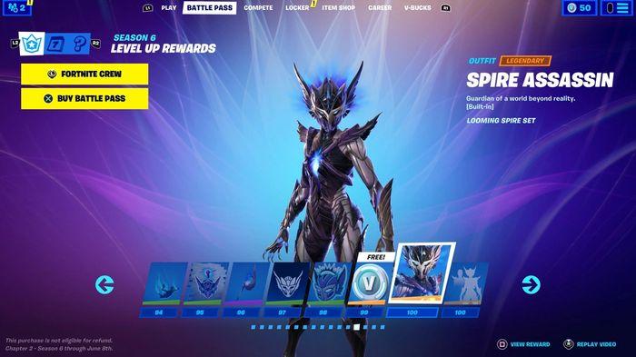 Fortnite Season 6 Battle Pass Tier 100 skins Spire Assassin