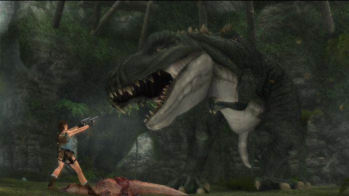 DINO-MITE -- Lara should get to fight a dinosaur again in the new game.