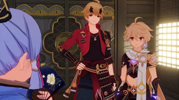 Genshin Impact Tohma and Traveler