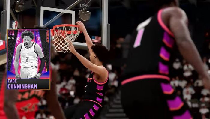 Cade Cunningham jams home a dunk