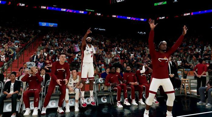 NBA 2K22 gameplay Miami Heat bench celebrates