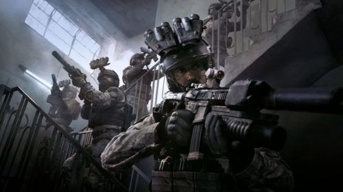 A squad tackles a staircase in Call of Duty: Modern Warfare