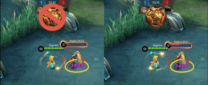 Two scenarios showing the difference in Mobile Legends hero damage with and without Radiant Armor