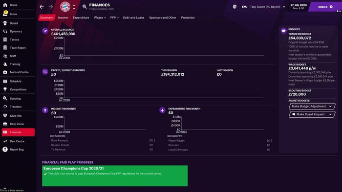 Bayern Munich's finances at the start of a Football Manager 2021 save