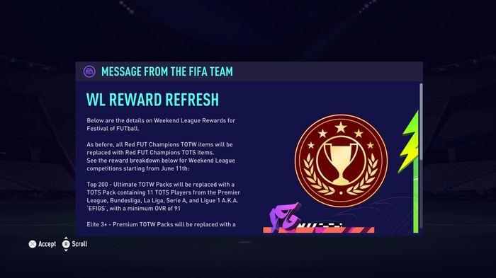 fifa 21 weekend league rewards notice ea