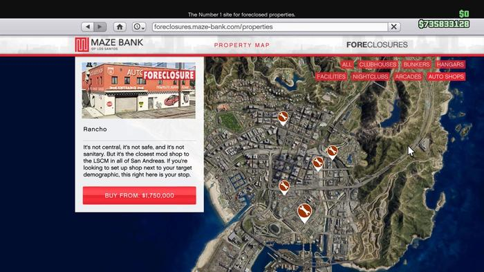 GTA Online Auto Shop Locations