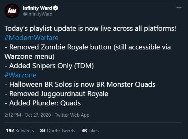 Call of Duty Modern Warfare Weekly Playlist Update