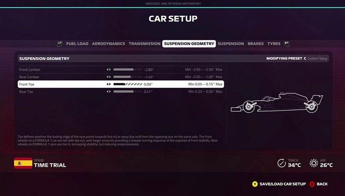F1 2019 Spanish grand prix setup suspension geometry
