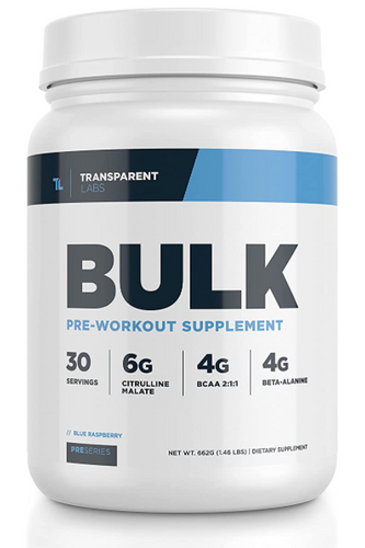 Best pre-workout Transparent Labs product image of a white container with dark and light blue labeling