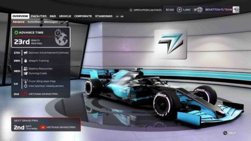 F1 2020 my team menus