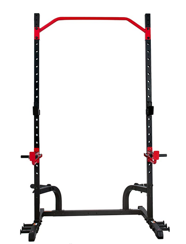 Best squat rack Sunny Health & Fitness product image of black half cage with red accents