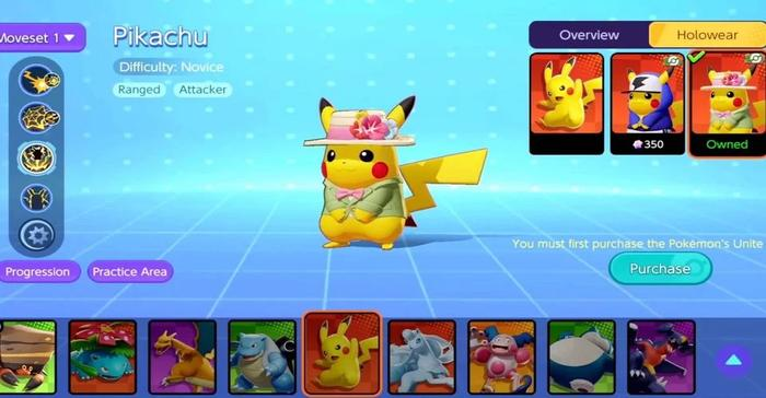 A scene in Pokemon Unite with Pikachu trying different outfits