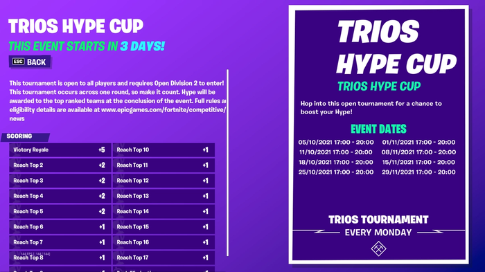 Fortnite Hype Cup Times and Scoring