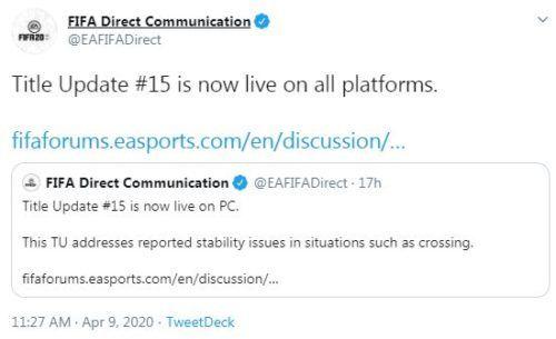 fifa 20 title update 15 live