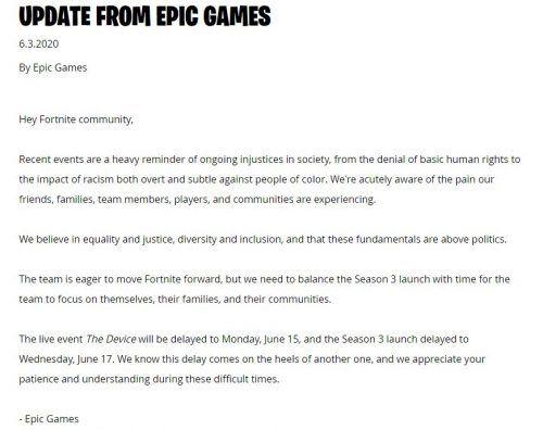 Epic Games Fortnite Chapter 2 Season 3 delay announcement