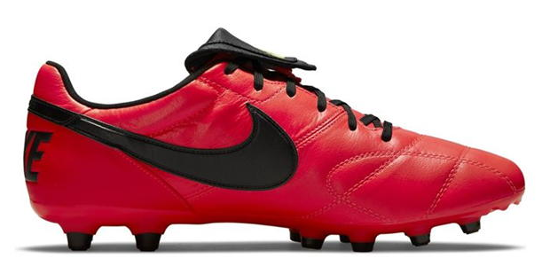 Best football boots Nike Premier II product image of a singular red boot with black Nike tick