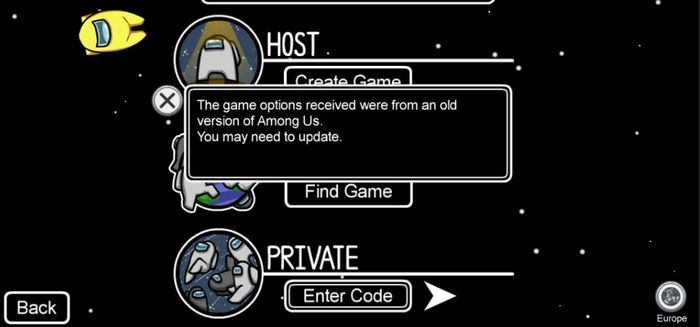 Among Us Error Old Version Update Game Message