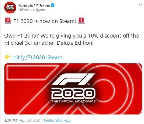 f1 2020 discount