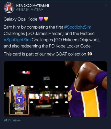 Kobe Galaxy Opal Tweet