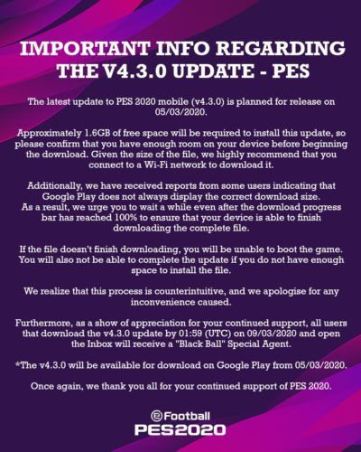 pes mobile v4 3 0 update