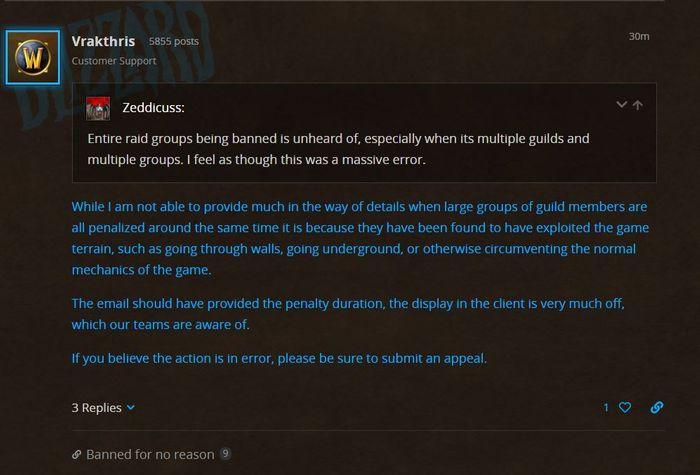Blizzard Blue Post Suggests Ban Classic Wow Terrain Exploit