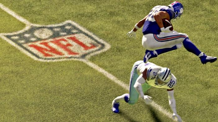 Saquon Barkley performs a jurdle in Madden 22