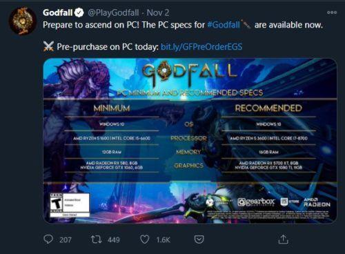 godfall pc spec requirements tweet