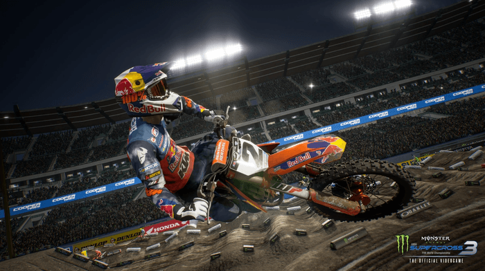 Monster Energy Supercross 3 allows players to take flight on their bikes