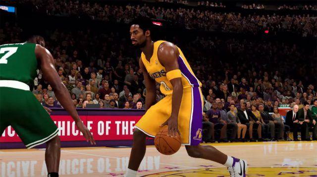Lakers legend Kobe Bryant sizing up Jaylen Brown in NBA 2K21.