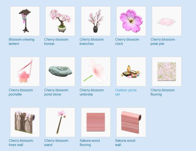 Animal Crossing Cherry Blossoms limited-time items