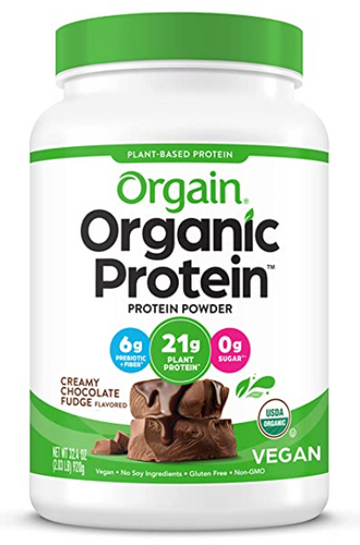 Best protein powder Orgain product image a white a green container of organic, vegan protein