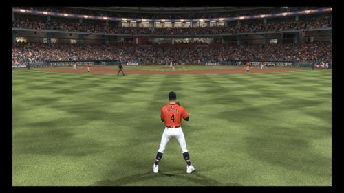 A fielder waits for the ball in MLB The Show
