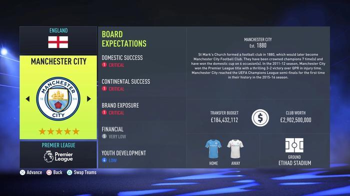 man city fifa 22 career mode board expectations