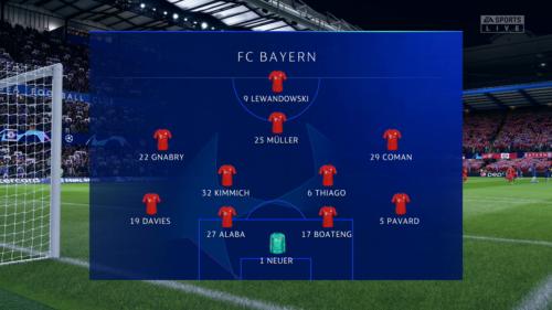 Bayern lineup vs Chelsea